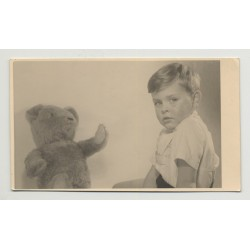 Portrait Of Baby Boy & His Teddy Bear (Vintage Photo Germany 1950s)