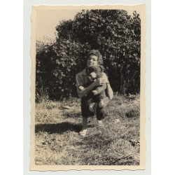Female Curlyhead & Her Teddy Bear Out In The Free (Vintage Photo 1950s/60s)