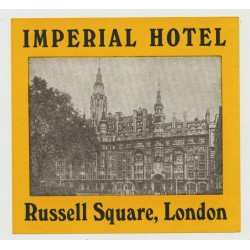 Imperial Hotel - Russell Square, London / Great Britain (Vintage Luggage Label)
