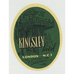 Kingsley Hotel - London W.C.1 / Great Britain (Vintage Luggage Label)