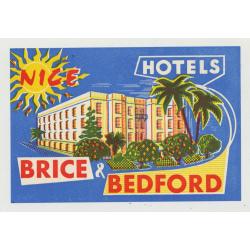 Hotels Brice & Bedford - Nice / France (Vintage Luggage Label)