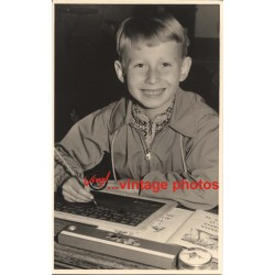Smiling German School Boy With Blackboard (Vintage Photo 1950s)