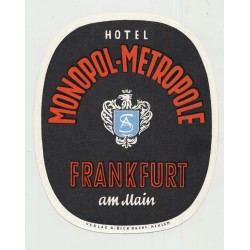 Hotel Monopol-Metropole - Frankfurt a. M. / Germany (Vintage Luggage Label)