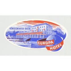 Europa Hotel - Königswinter-Rhein / Germany (Vintage Luggage Label)