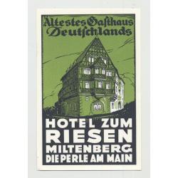 Hotel Zum Riesen - Miltenberg Am Main / Germany (Vintage Luggage Label 1940s)