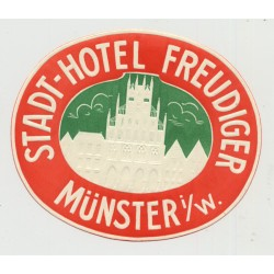 Stadt-Hotel Freudiger - Münster i/W. / Germany (Vintage Luggage Label)