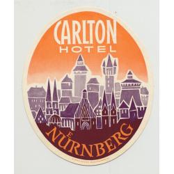 Carlton Hotel - Nürnberg / Germany (Vintage Luggage Label)