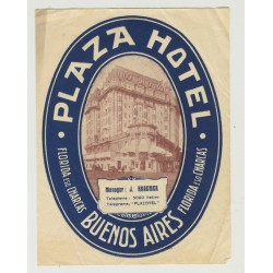 Plaza Hotel - Buenes Aires / Argentina (Vintage Luggage Label)