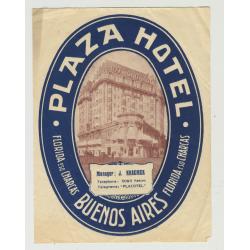 Plaza Hotel - Buenes Aires / Argentina (Vintage Luggage Label)