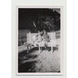 Baby Boy & Little Sister Share Bench With Huge Teddy Bear (Vintage Photo ~1940s)