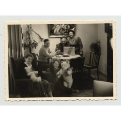 Partially Costumed Family Along With 2 Teddy Bears (Vintage Photo ~30s/40s)