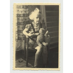 Sweet Blonde Girl In Bavarian Garb W. Beloved Teddy Bear (Vintage Photo ~1930s)