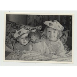 Little Girl & Her Baby Brother W. Beloved Teddy Bear / Hats (Vintage Photo ~1950s)