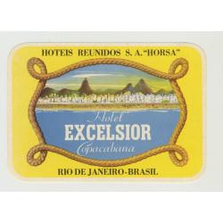Hotel Excelsior Copacabana - Rio de Janeiro / Brasil (Vintage Luggage Label)