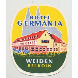 Hotel Germania - Weiden bei Köln / Germany (Vintage Luggage Label)