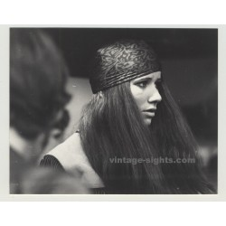 German Hippie Girl At Düsseldorf Teenage Fair 1969 (Vintage Photo)
