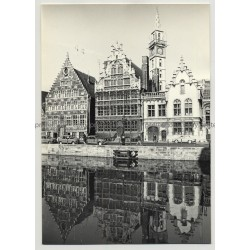 9000 Gent - Belgium: Old Houses Of The Graslei Quay (Vintage Photo 1960s B/W)