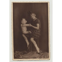 Girl Poses With Teddy Bear (Vintage Photo PC 1926)