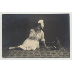 Woman In White Dress Admires Teddy Bear (Vintage Photo PC 1924)
