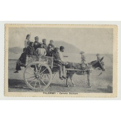 Palermo - Carretto Siciliano / Donkey With Cart (Vintage Photo PC B/W 1928)