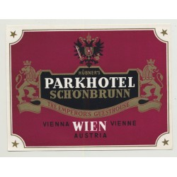 Hübner's Parkhotel Schönbrunn - Vienna / Austria (Vintage Luggage Label)