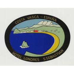 Hotel Londres - San Sebastian (Costa Vasca) / Spain (Vintage Luggage Label)