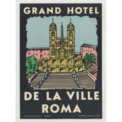 Grand Hotel De La Ville - Rome / Italy (Vintage Luggage Label: Richter & C)