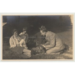Little Boy Gets His 1. Teddy Bear At Family Picnic (Vintage Gelatin Silver Photo)
