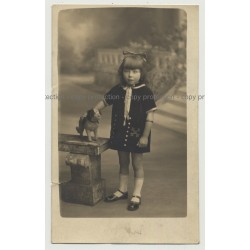 Little Girl In Sunday Costume Poses W. Stuffed Dog  (Vintage Real Photo PC)