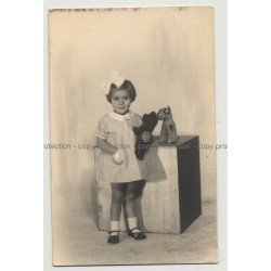 Sweet Girl W. Teddy Bear & Stuffed Dog (Vintage Real Photo PC 20s/30s)