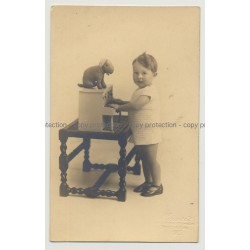 Baby Wirl W. Toy Piano & Stuffed Rabbit (Vintage Real Photo PC 20s/30s)
