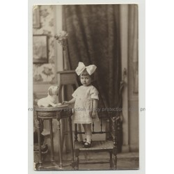 Ultra Sweet Baby Girl W. Hair Bow & Stuffed Dog (Vintage Real Photo PC 20s/30s)