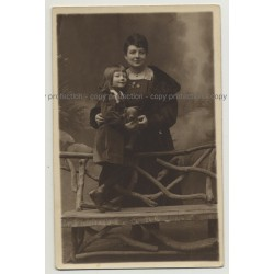 Mother & Daughter Together W. Teddy Bear (Vintage Real Photo PC 20s/30s)
