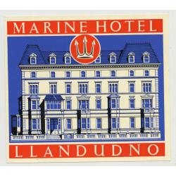 Marine Hotel (Trust House) - Llandudno / Great Britain (Vintage Luggage Label 1950s)
