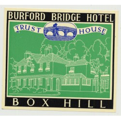 Bruford Bridge Hotel (Trust House) - Box Hill / Great Britain (Vintage Luggage Label 1950s)