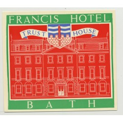 Francis Hotel (Trust House) - Bath / Great Britain (Vintage Luggage Label 1950s)