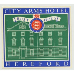 City Arms Hotel (Trust House) - Heresford / Great Britain (Vintage Luggage Label 1950s)