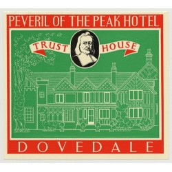 Peveril Of The Peak Hotel (Trust House) - Dovedale / Great Britain (Vintage Luggage Label 1950s)