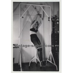 Tied Blonde With Bra & Boots In Weird Stretching Machine (Vintage Photo 1964)