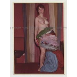 Nude Red Head Covers Herself W. Feather Fan / Boobs (Vintage Photo DDR 1960s)