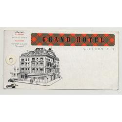 Grand Hotel - Glasgow / Scotland - Great Britain (Vintage Luggage Tag)