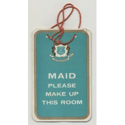 Zeckendorf Hotel: Maid Please Make Up This Room / USA (Vintage Hotel Tag)