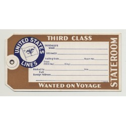 United States Lines - Third Class (Vintage Luggage Tag / Label)