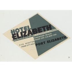 Hotel Elizabeth - Port Elizabeth / South Africa (Vintage Luggage Label)
