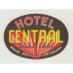 Hotel Central - Luanda / Angola (Vintage Luggage Label)