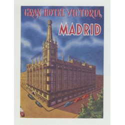 Gran Hotel Victoria - Madrid / Spain (Vintage Luggage Label)