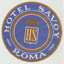 Hotel Savoy - Rome / Italy (Vintage Luggage Label)