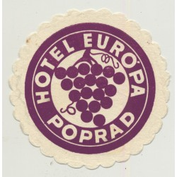 Hotel Europa - Poprad / Slovakia (Vintage Advertisment Coaster / Beermat)