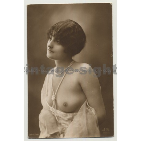 Pensive French Nude / Breast Flasher (Vintage Photo PC: Jean Angelou ~ 1910s/1920s)