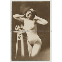 Smiling French Nude W. Hairband (Vintage Photo PC: Atelier Walery Paris ~ 1910s/1920s)